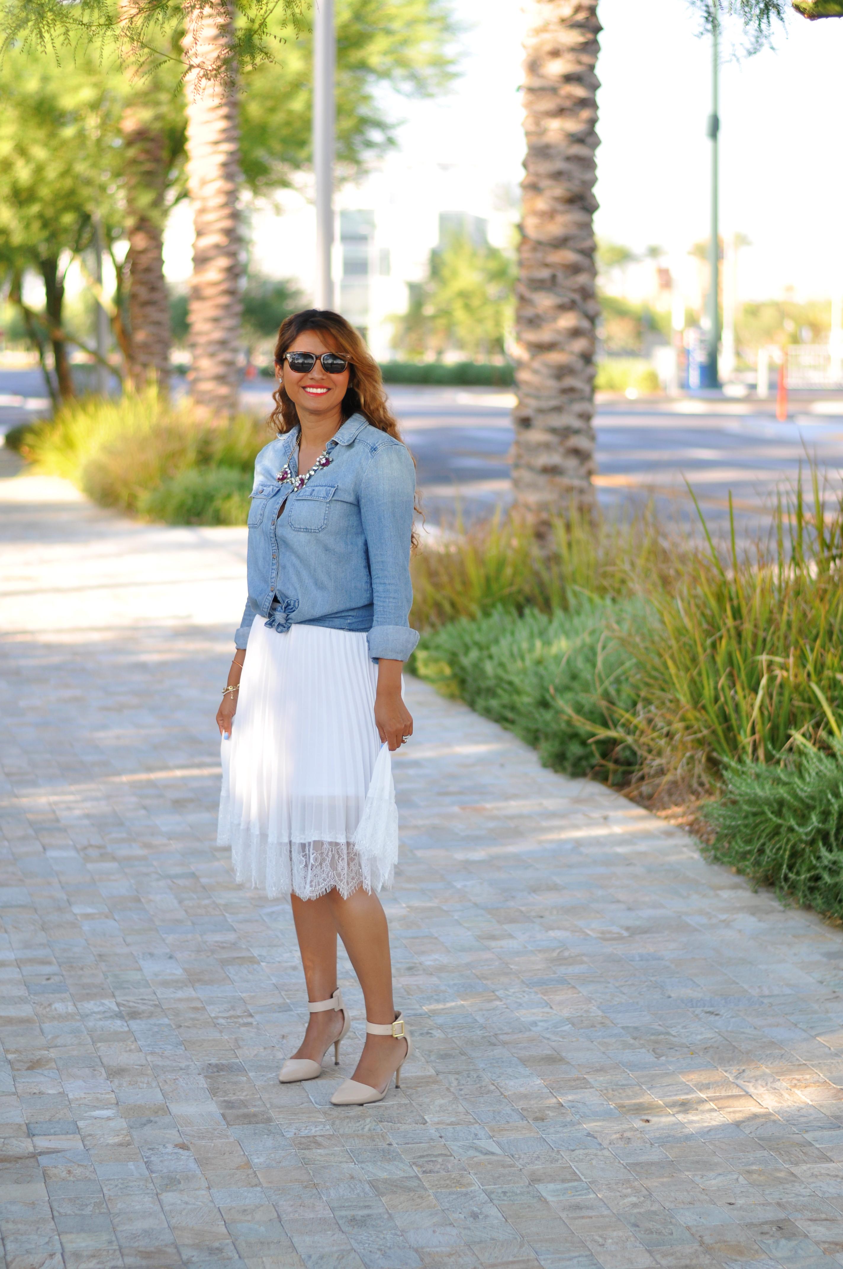 Denim Shirt And Flirty White Skirt Uptown Fashion By Jess